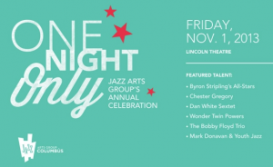 "Post image for ""One Night Only"" to benefit Jazz Arts Group"